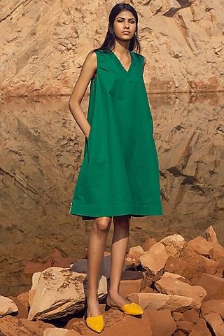 Emerald Green Shift Dress by Khara Kapas