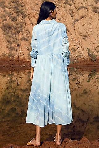 Blue Shibori-Dyed Midi Dress by Khara Kapas
