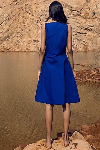 Blue Knee-Length Poplin Dress by Khara Kapas