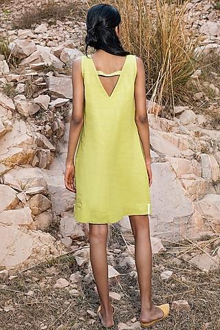Lime Green Sleeveless Shift Dress by Khara Kapas