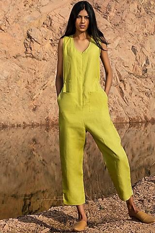 Lime Green Elasticated Jumpsuit by Khara Kapas