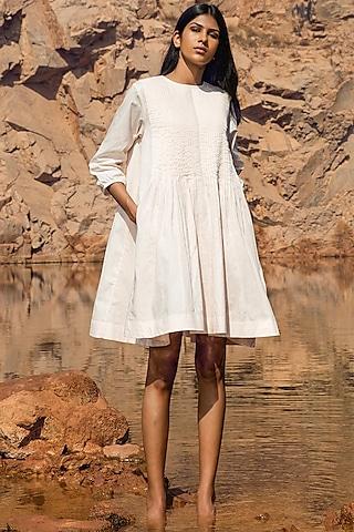Pale Pink Pintucked Dress by Khara Kapas