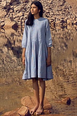 Blue Yarn-Dyed Pintucked Dress by Khara Kapas