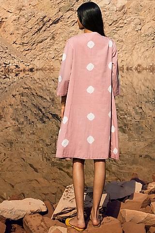 Pink Shibori-Dyed Jacket Dress by Khara Kapas
