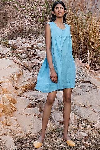 Ice Blue Pintucked Shift Dress by Khara Kapas
