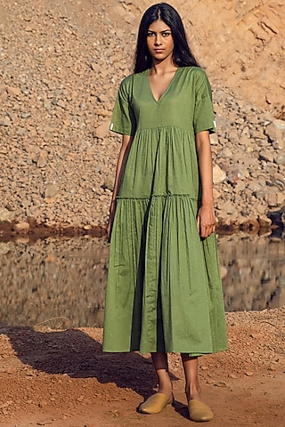 Sap Green Khadi Tiered Midi Dress by Khara Kapas
