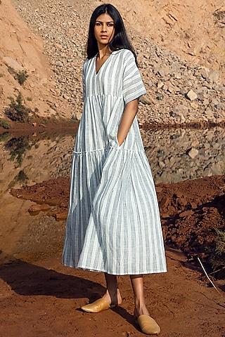 Grey & White Striped Khadi Midi Dress by Khara Kapas
