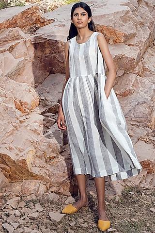 Grey & White Striped Khadi Dress by Khara Kapas