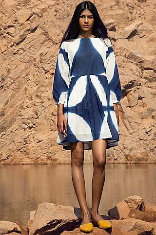 Blue & White Shibori-Dyed Tent Dress by Khara Kapas
