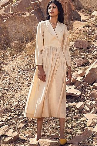 Yellow & White Striped Midi Dress by Khara Kapas