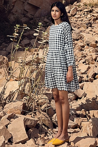 Black & White Checkered Dress by Khara Kapas