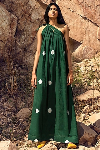 Deep Green Tie-Up Gathered Dress by Khara Kapas