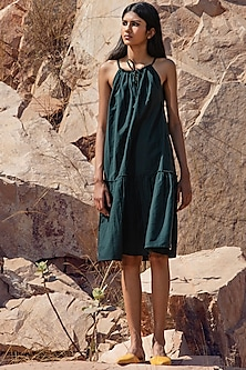 Deep Green Strapped Dress With Drawstrings by Khara Kapas