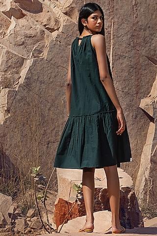 Deep Green Strapped Dress With Drawstrings by Khara Kapas