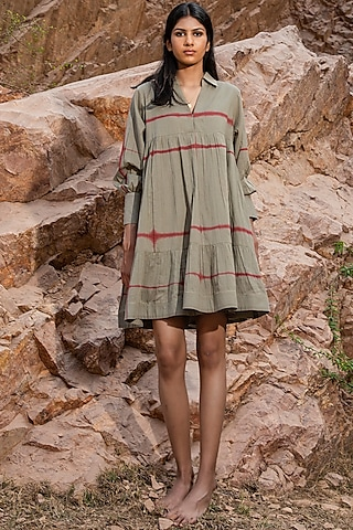 Pickle Green Shibori Collared & Tiered Dress by Khara Kapas