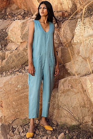 Ice Blue Jumpsuit With Pockets by Khara Kapas