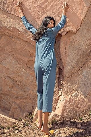 Powder Blue Jumpsuit With Side Pockets by Khara Kapas