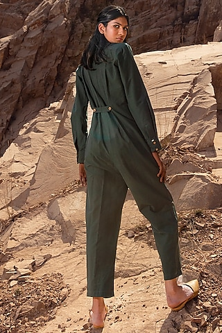 Army Green Jumpsuit With Side Pockets by Khara Kapas