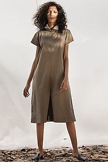 Oyster Playsuit With Pleated Hemline by Khara Kapas