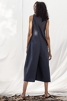 Navy Blue Playsuit With Side Pockets by Khara Kapas