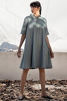 Powder Blue Midi Dress With Shirt Collar by Khara Kapas