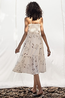 Ivory Fit & Flare Dress With Floral Print by Khara Kapas