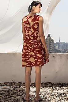 Red & Biscotti Skater Dress by Khara Kapas