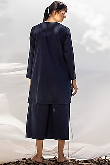 Navy Blue A-Line Kurta With Cropped Pants by Khara Kapas