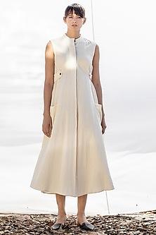Off White Midi Dress With Kangaroo Pockets by Khara Kapas