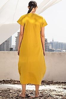 Mango Yellow Cowl Midi Dress by Khara Kapas