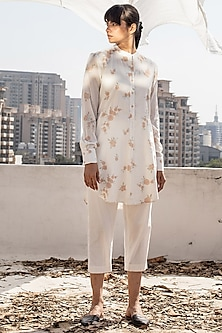 Ivory Screen Printed Tunic With Pants by Khara Kapas