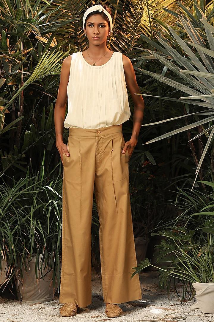 Beige Wide-Legged Straight Pants by Khara Kapas