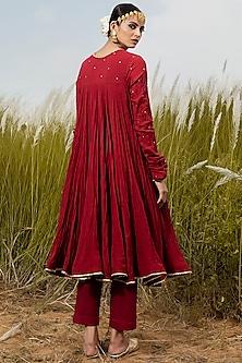 Scarlet Red Anarkali Set With Gold Foil Detailing by Khara Kapas