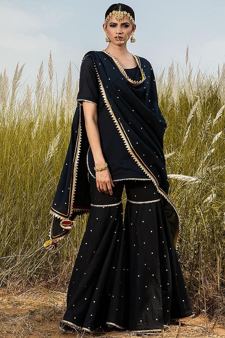 Black Sharara Set With Gota Detailing by Khara Kapas
