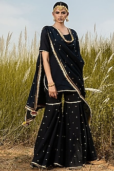 Black Sharara Set With Gota Detailing by Khara Kapas