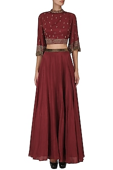 Maroon Embroidered Crop Top with Flared Skirt  by Kakandora