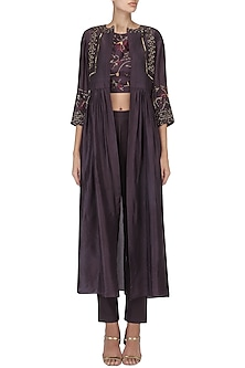 Wine Embroidered Jacket with Crop Top and Pants Set by Kakandora