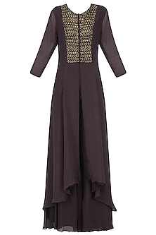 Wine Embroidered Kurta with Flared Palazzo by Kakandora