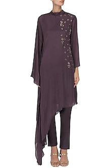 Wine Embroidered Poncho Kurta with Pants by Kakandora