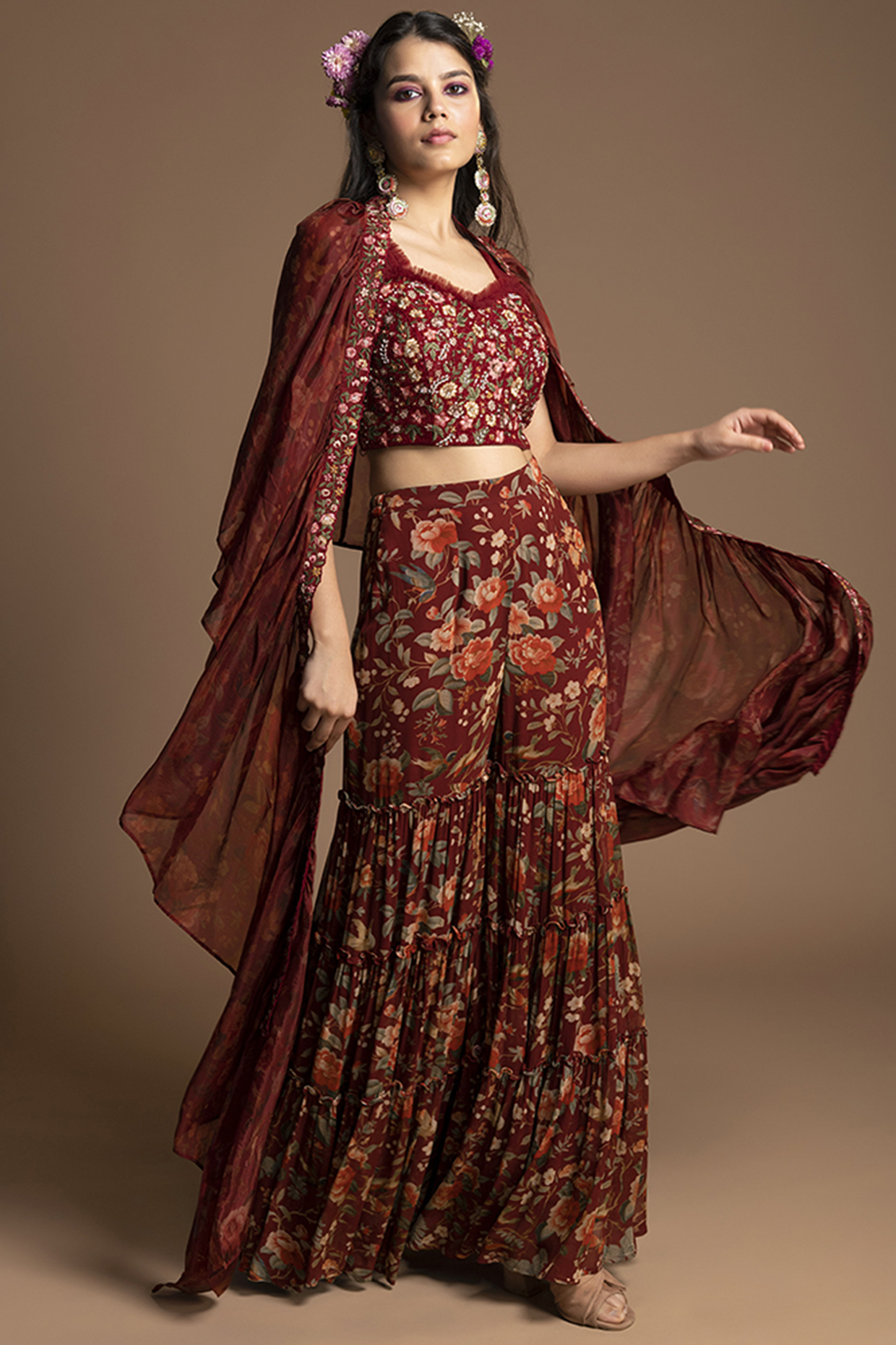 Maroon Embroidered Gharara Set by Kalista