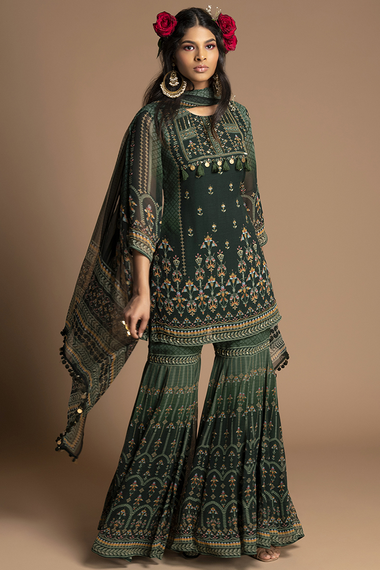 Emerald Green Embroidered Gharara Set by Kalista