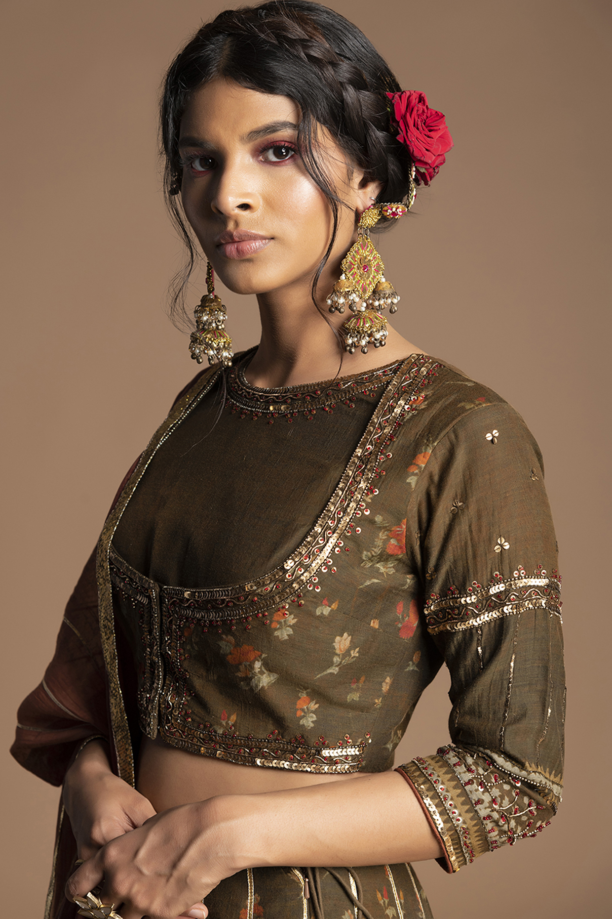 Brown & Green Embroidered Gharara Set by Kalista