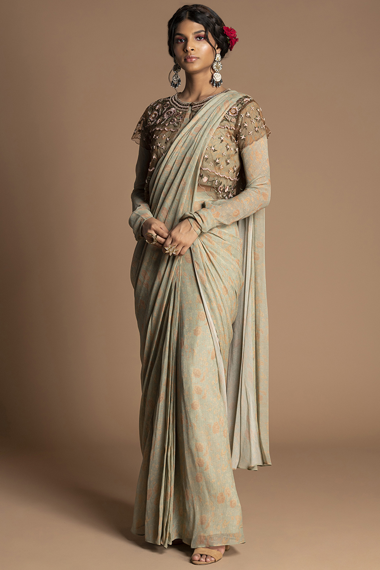 Mint Embroidered Pre-Stitched Saree Set by Kalista