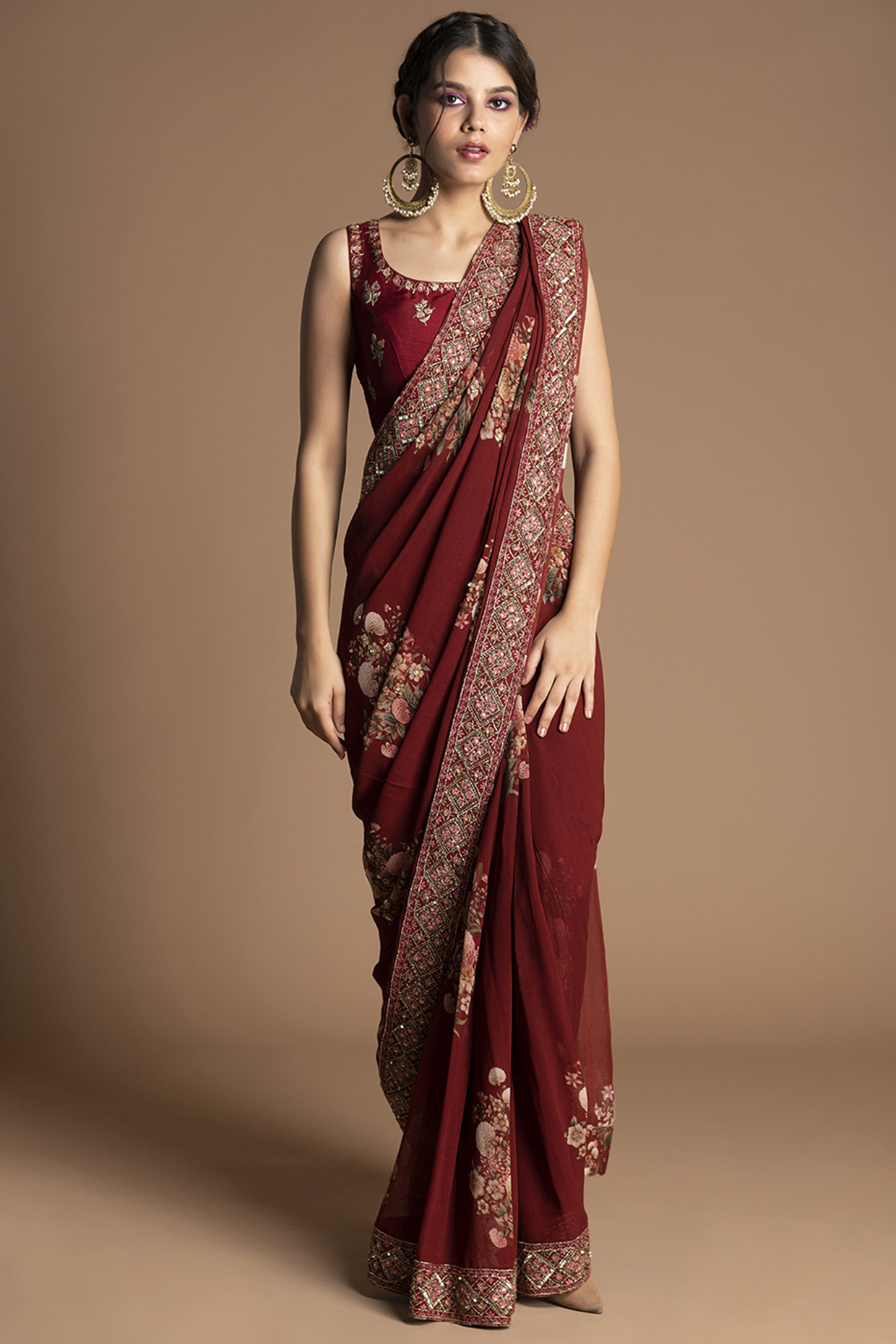 Red Embroidered Pre-Stitched Saree Set by Kalista