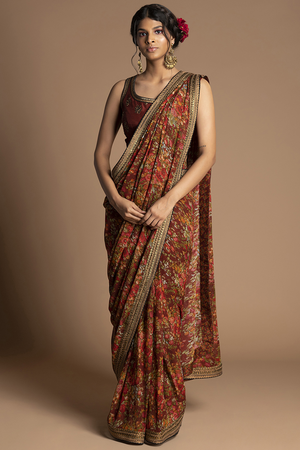 Maroon Embroidered Pre-Stitched Saree Set by Kalista