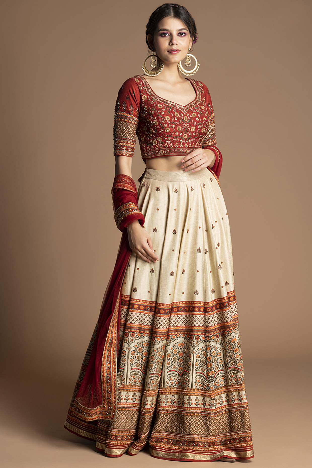 Red Floral Embroidered Lehenga Set by Kalista