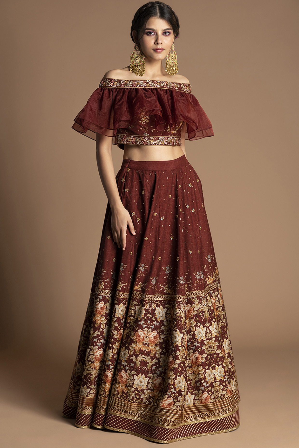 Maroon Floral Embroidered Lehenga Set by Kalista