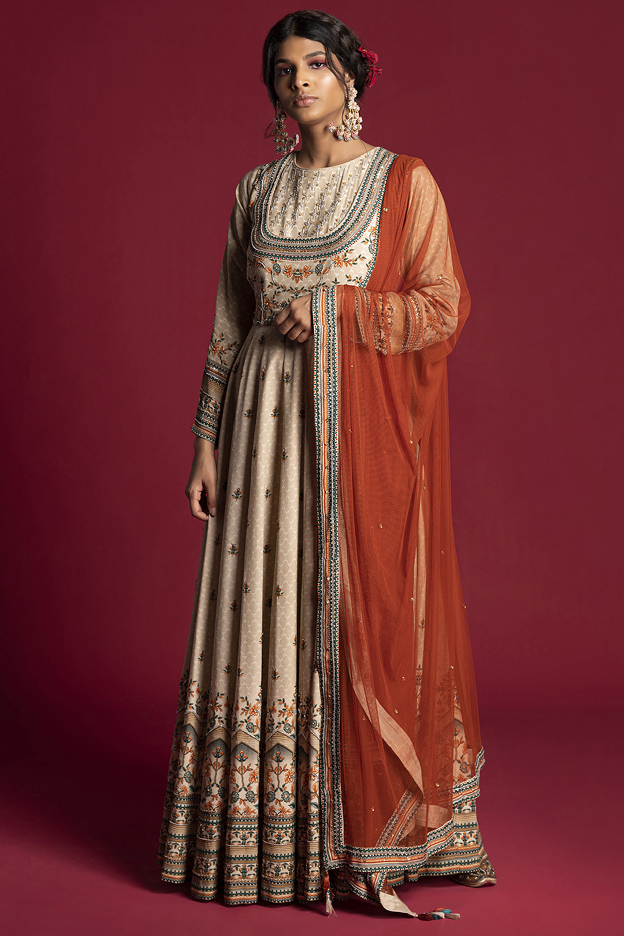 Beige Embroidered Anarkali Set by Kalista