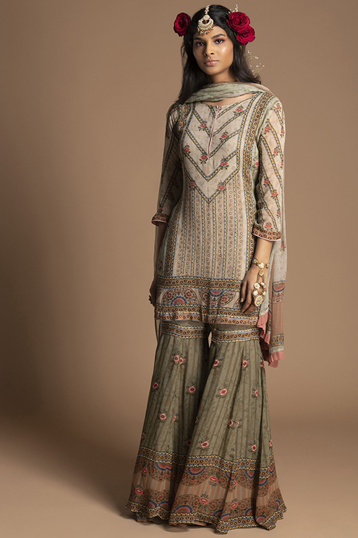 Olive Green Embroidered Gharara Set by Kalista