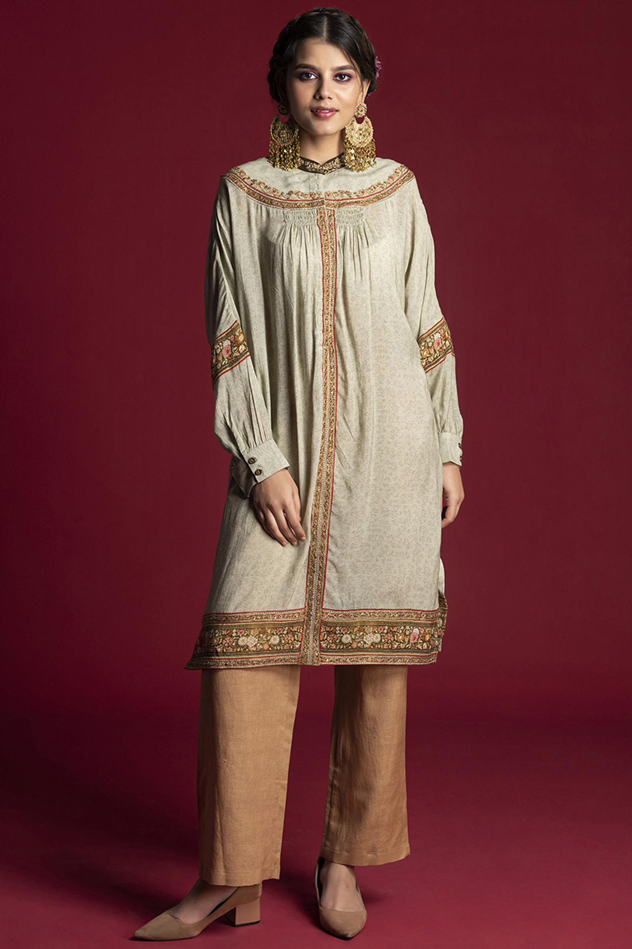 Mint Green Embroidered Tunic Set by Kalista